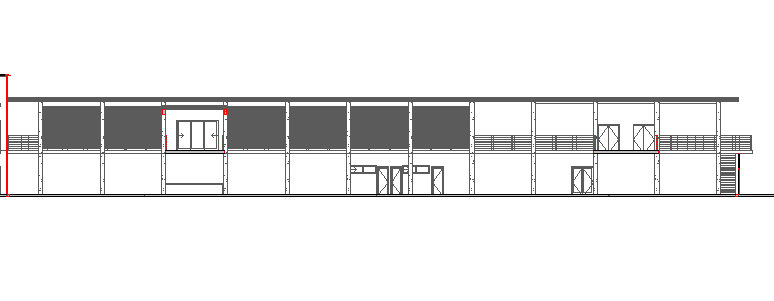 Front elevation view of single flooring corporate office dwg file