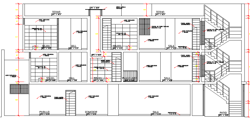Full sectional view of three flooring bungalow details dwg file