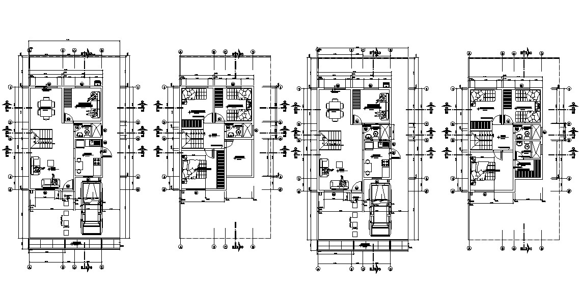 Furnished 3 BHK Bungalow  2d AutoCAD drawing