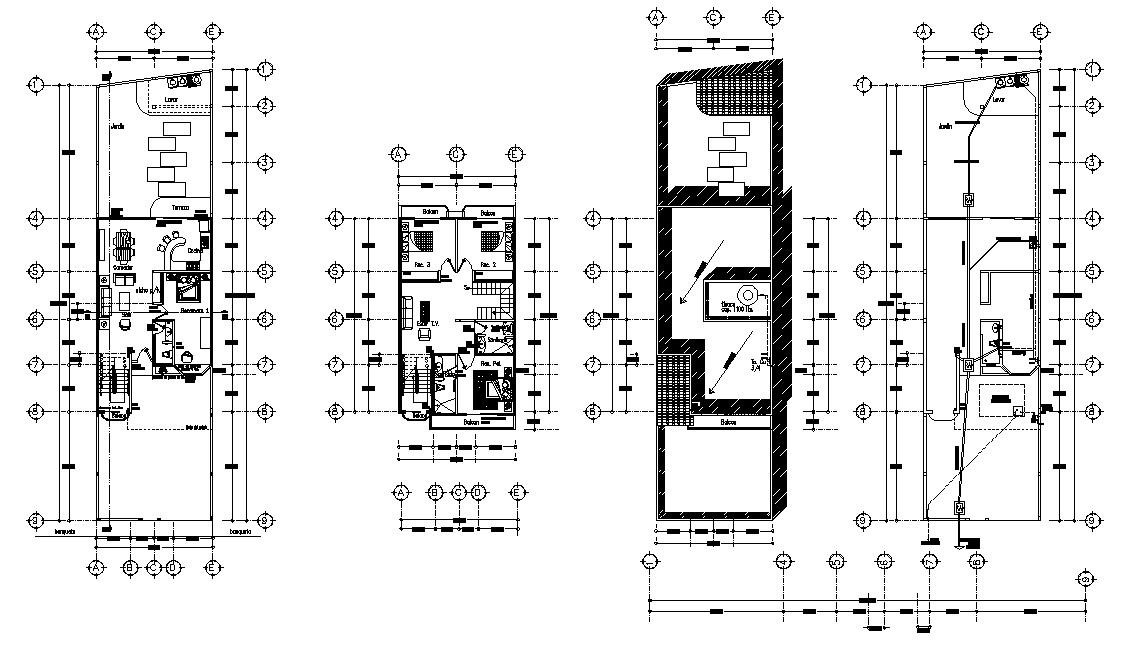 Furnished 4 BHK Duplex House Design Plan