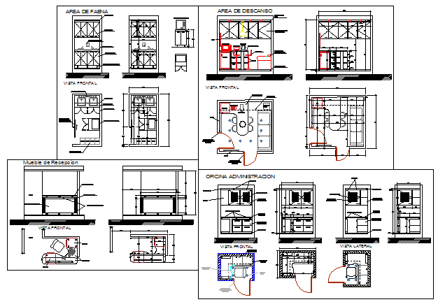 Furniture detail drawing of Office