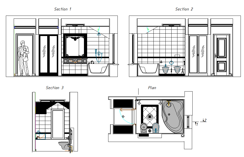 Furniture detailing of a bathroom dwg file