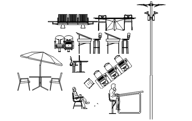 Furniture elevation and section detail dwg file
