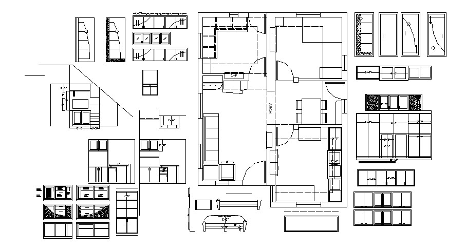 Furniture layout design plan of the house in autocad