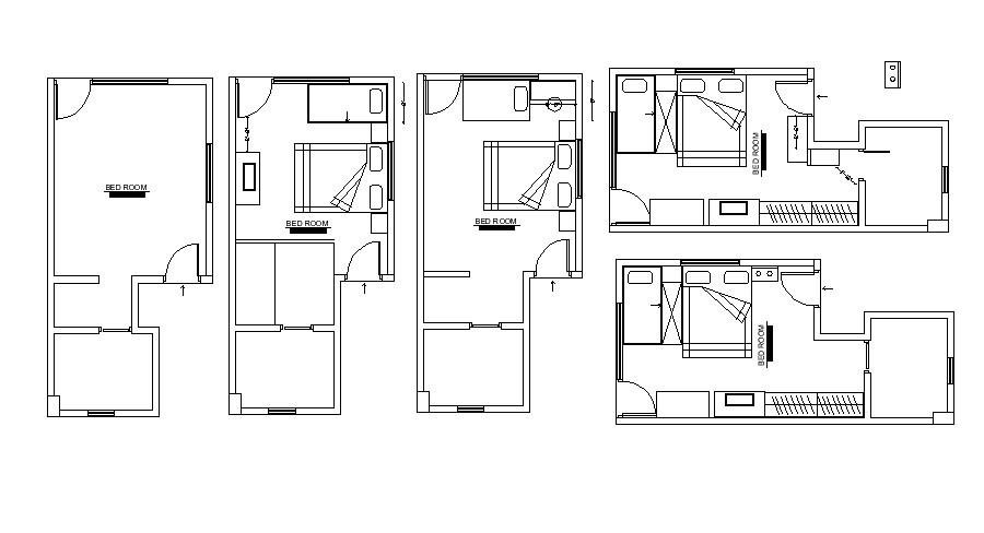 Bedroom Furniture Layout In DWG File - Cadbull