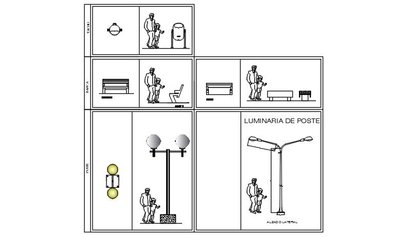 Furniture plan and street light detail dwg file