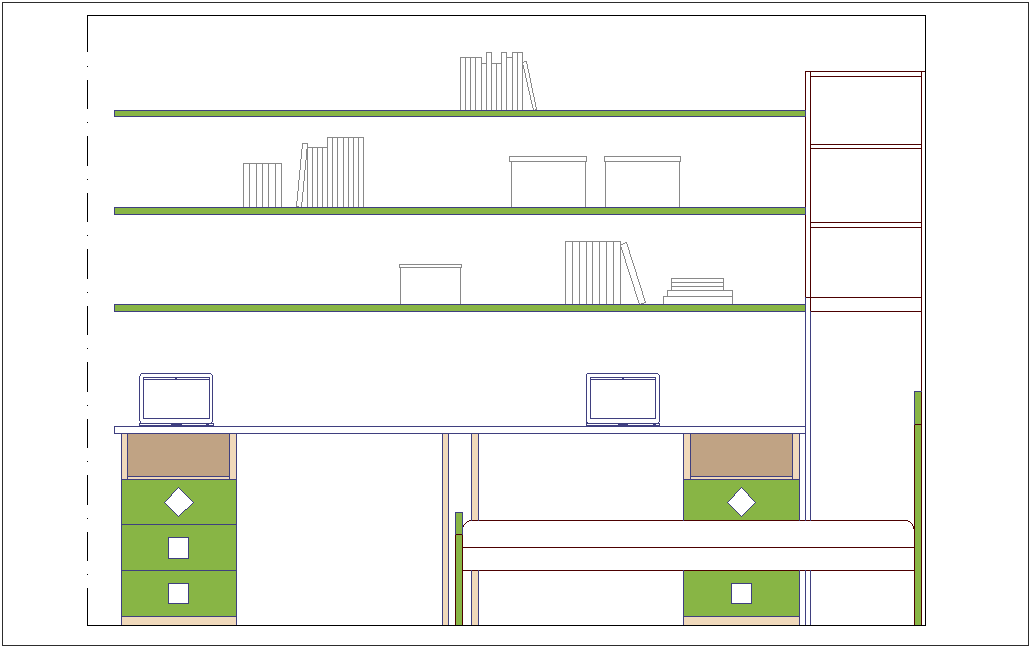 Furniture view of cup board elevation dwg file