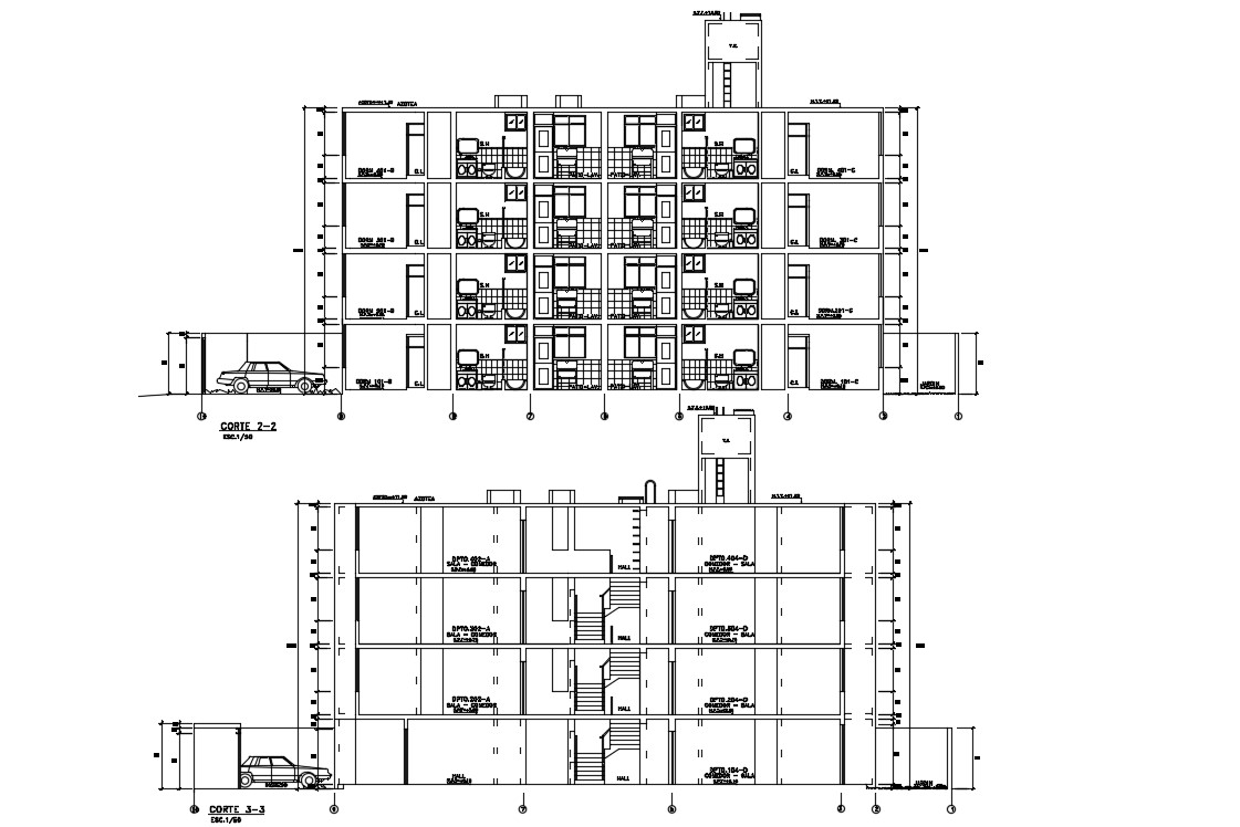 G+3 Apartment Section Design AUtoCAD Drawing
