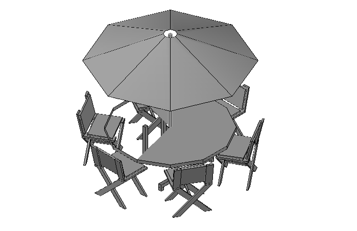 Garden Table and Chairs elevation in 3d