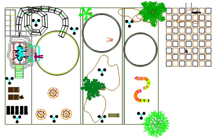 Garden detail in game zone detail dwg file