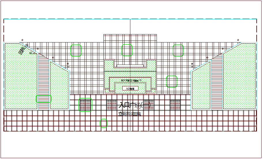 Garden view of entrance plaza dwg file