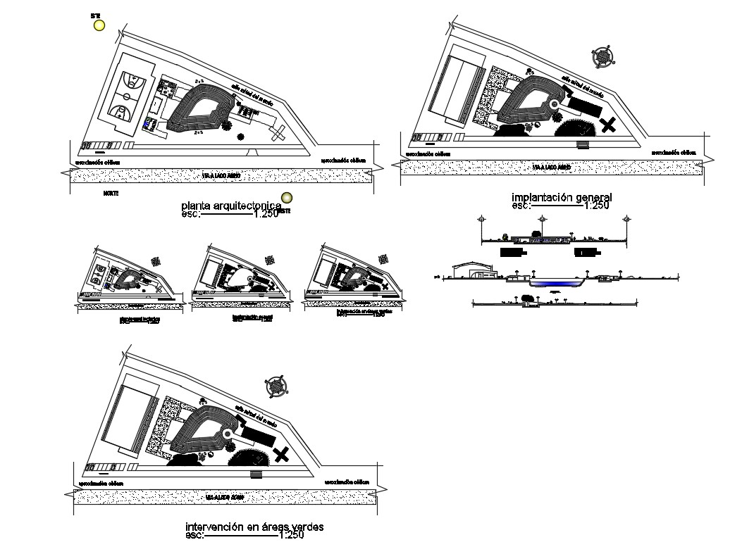General implication plan, distribution plan and auto-cad details of restaurant dwg file