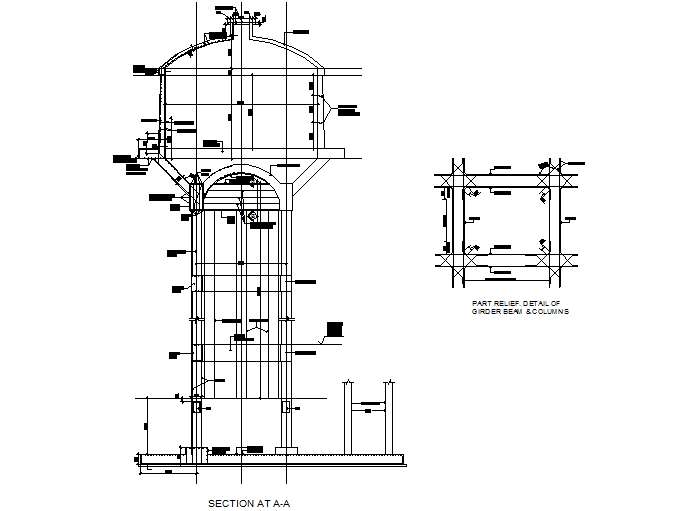Girder beam and column detail dwg file