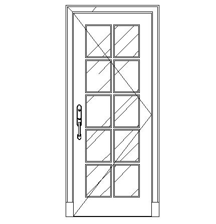 Glass door elevation cad block design dwg file