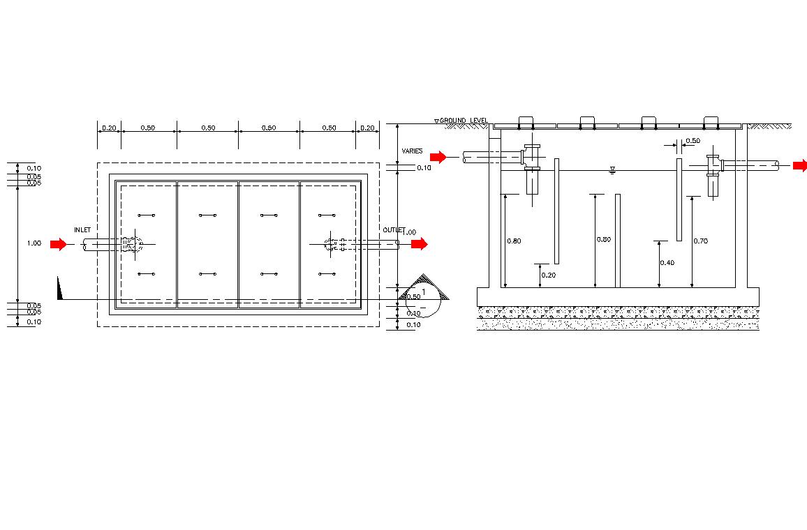 Grease trap pit plan detail dwg file.