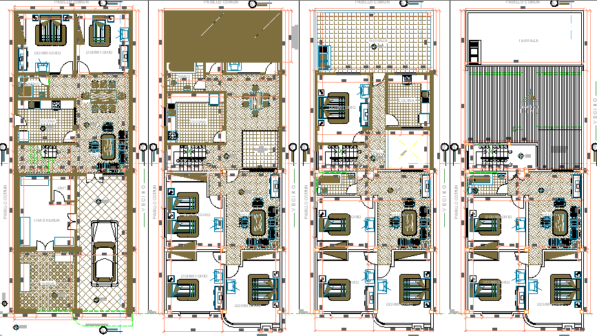 Ground, first, second and top floor plan view of four level housing building dwg file.