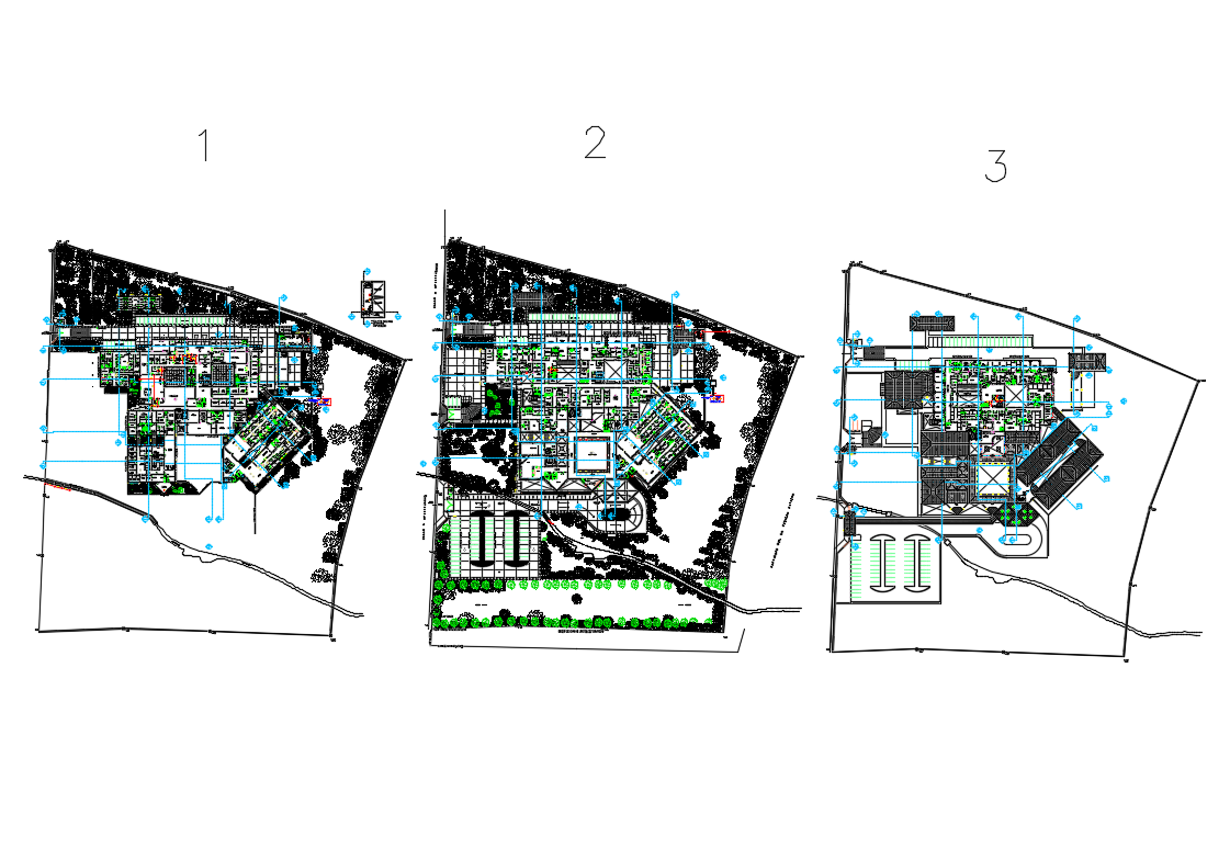 Ground, first and second floor plan details of hospital dwg file