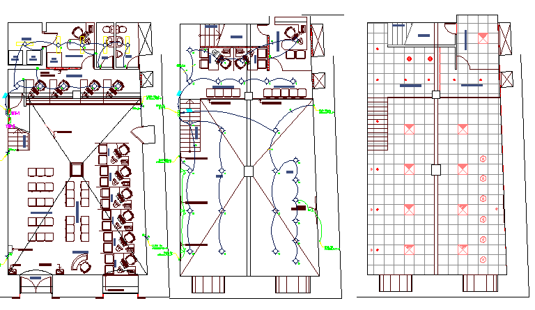 Ground, first and top floor layout plan of government bank dwg file