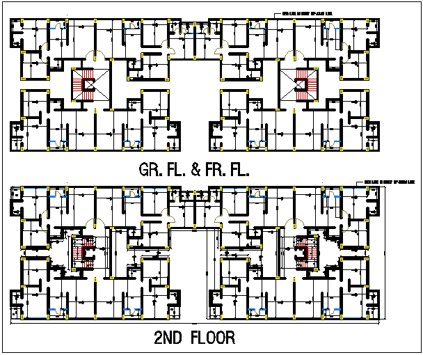 Ground and first floor built up area plan measurement dwg file