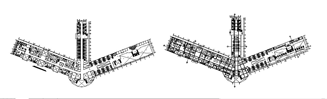 Ground and first floor plan layout details of airport terminal dwg file