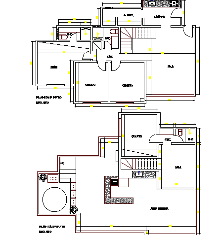 Ground and top floor layout plan of one family house dwg file