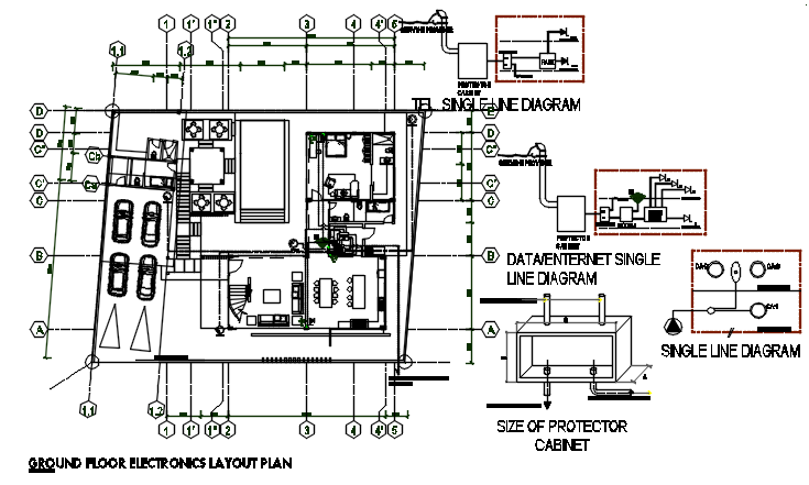 Ground floor Electric plan detail dwg file