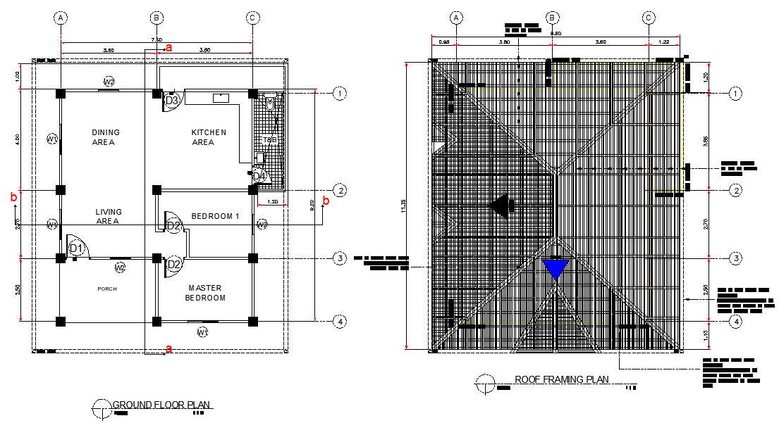 Ground floor and roof framing house plan layout file