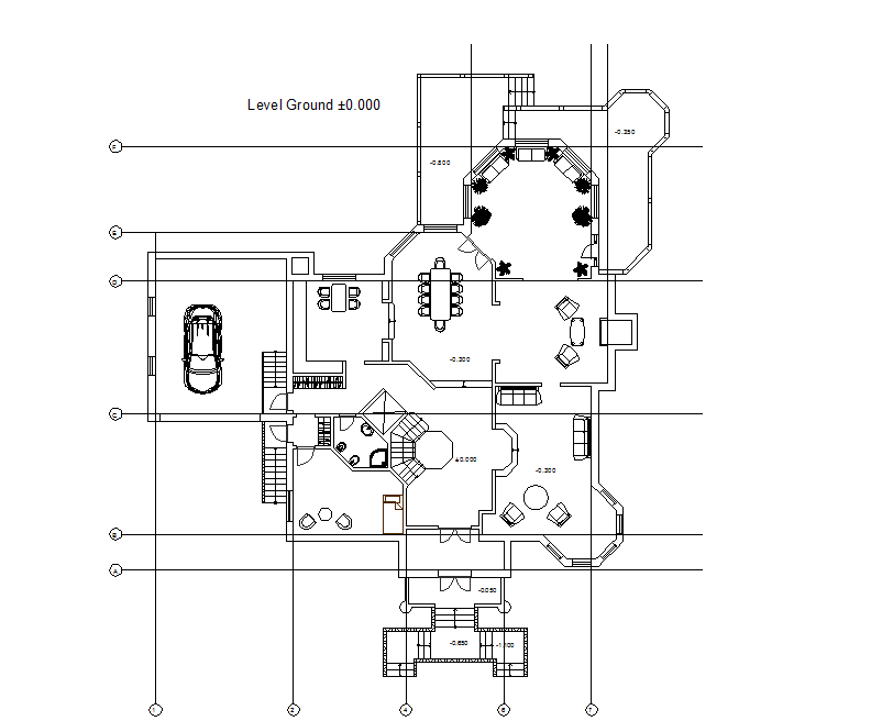 Ground floor layout plan of building dwg file