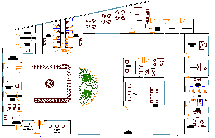 Ground floor layout plan of corporate office dwg file