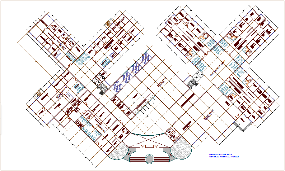 Ground floor plan of hospital dwg file
