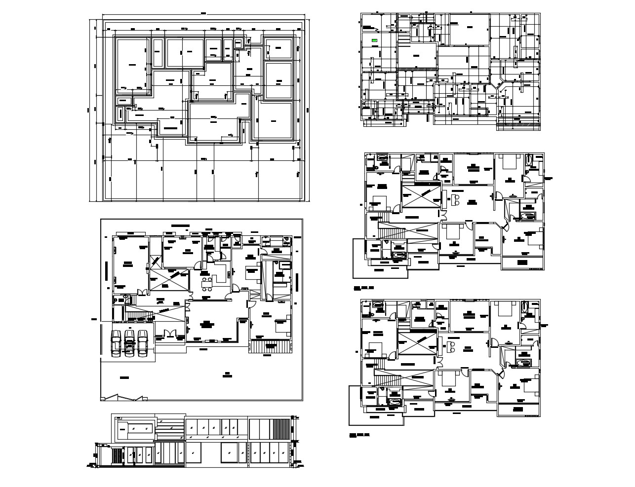 Ground floor plan of the bungalow with detail dimension in autocad