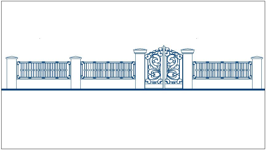 Hand railing boundary fencing plan elevation view detail dwg file