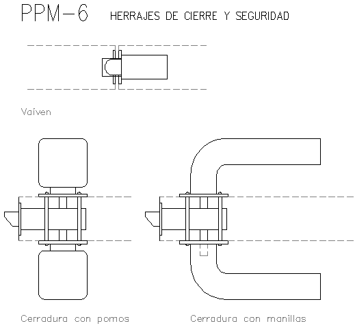 Hardware handle and knob-lock and security dwg file
