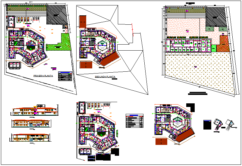 Health center plan view with area and door and window detail view dwg file