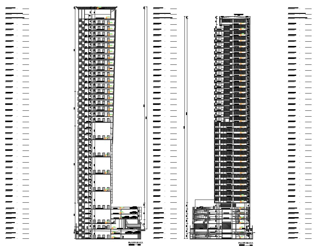 High Rise Apartments CAD Drawing
