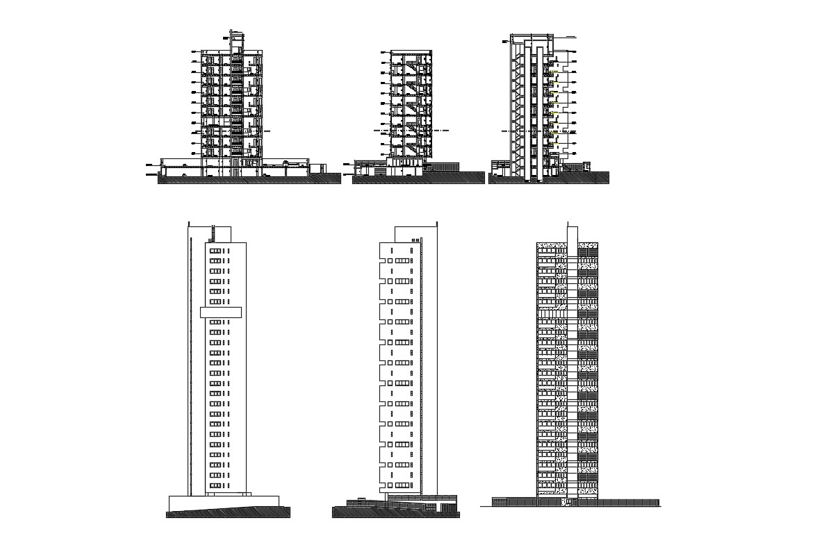 High Rise Building Elevation Designs DWG File Download