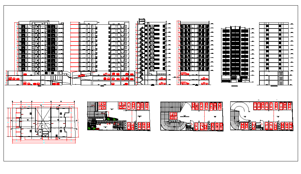 High rise building elevation, plan and section dwg file