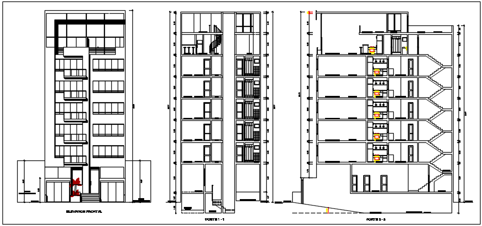 High rise building elevation and section plan detail dwg file