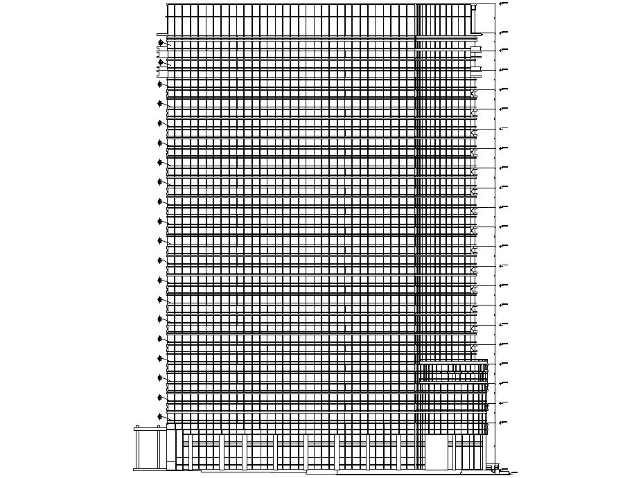 High rise building plan detail dwg file