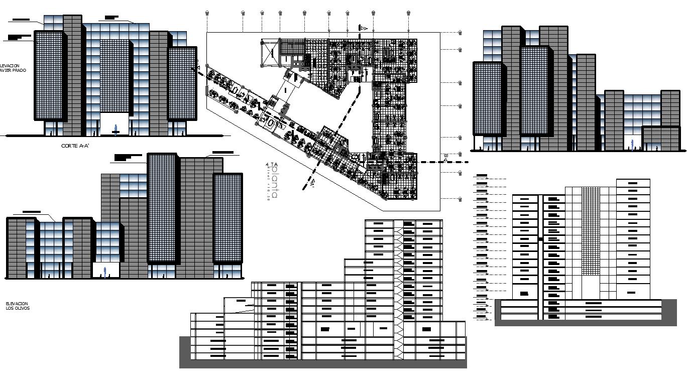 High-rise building plan detail dwg file