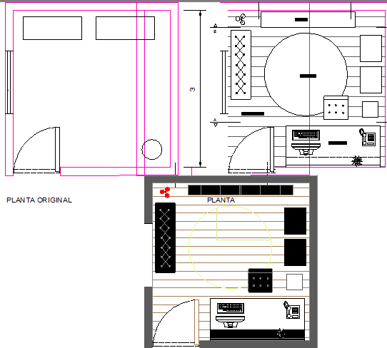 Home office top view layout plan of furniture