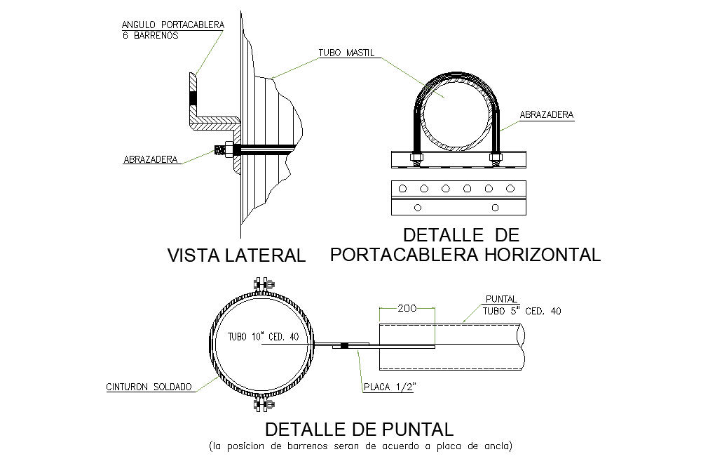 Horizontal cable-holder autocad file