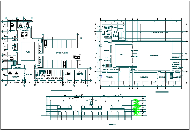Hospital clinic plan detail view dwg file