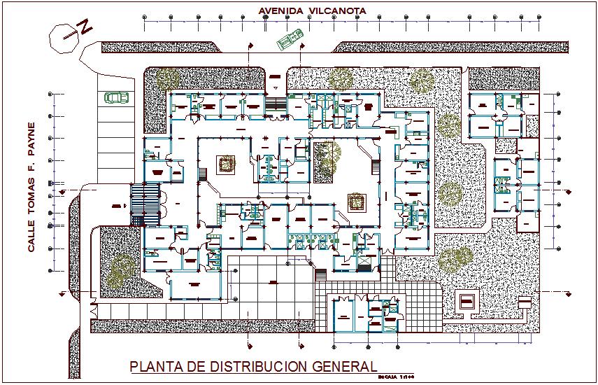 Hospital general distribution layout plan design view dwg file