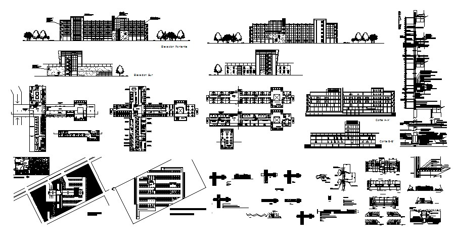 Hospital with elevations in dwg file