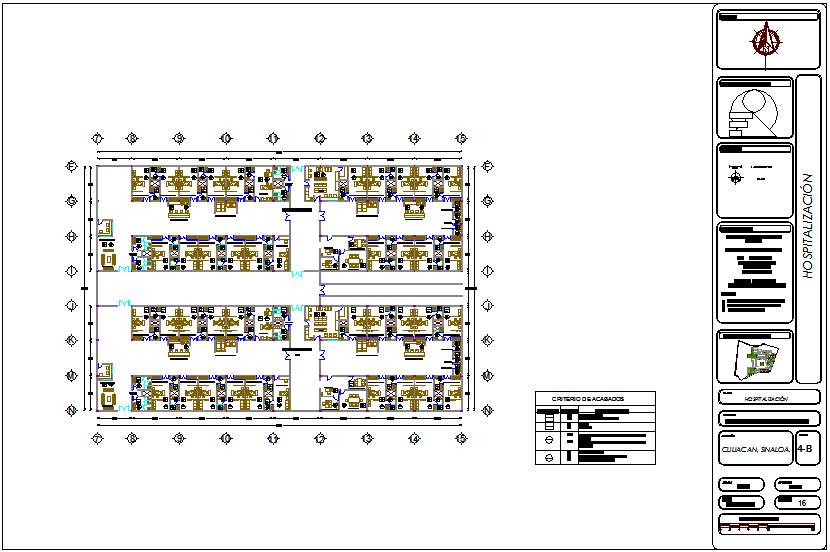 Hospitalization section view of hospital dwg file