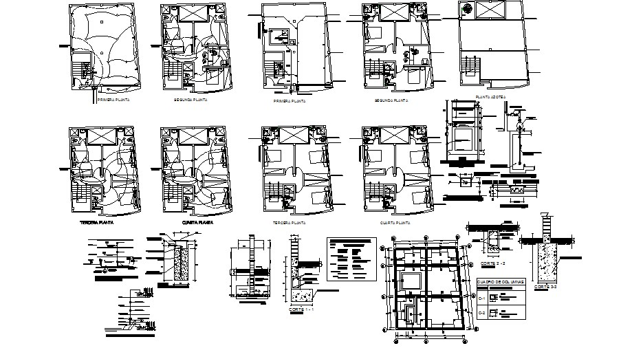 Hostel floors foundation plan, electrical layout plan and auto-cad details dwg file
