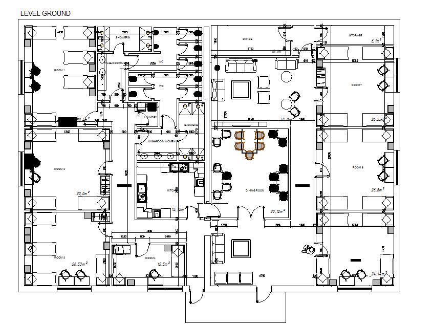 Hostel layout plan dwg file