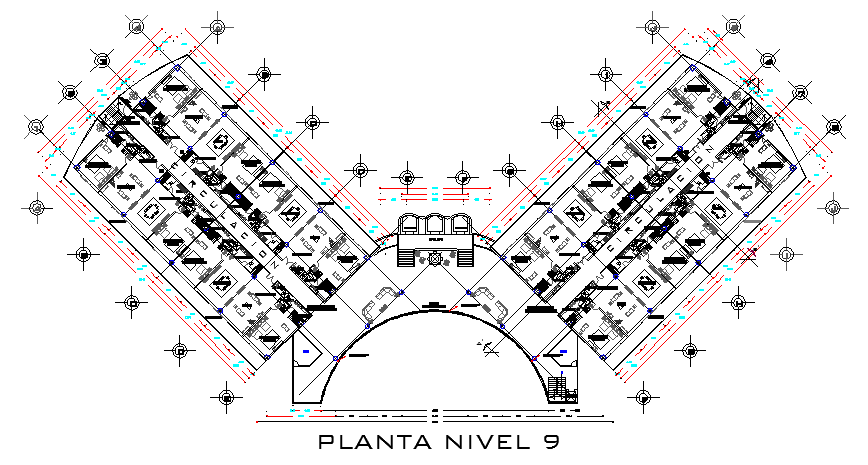 Layout plan of hotel drawing dwg file