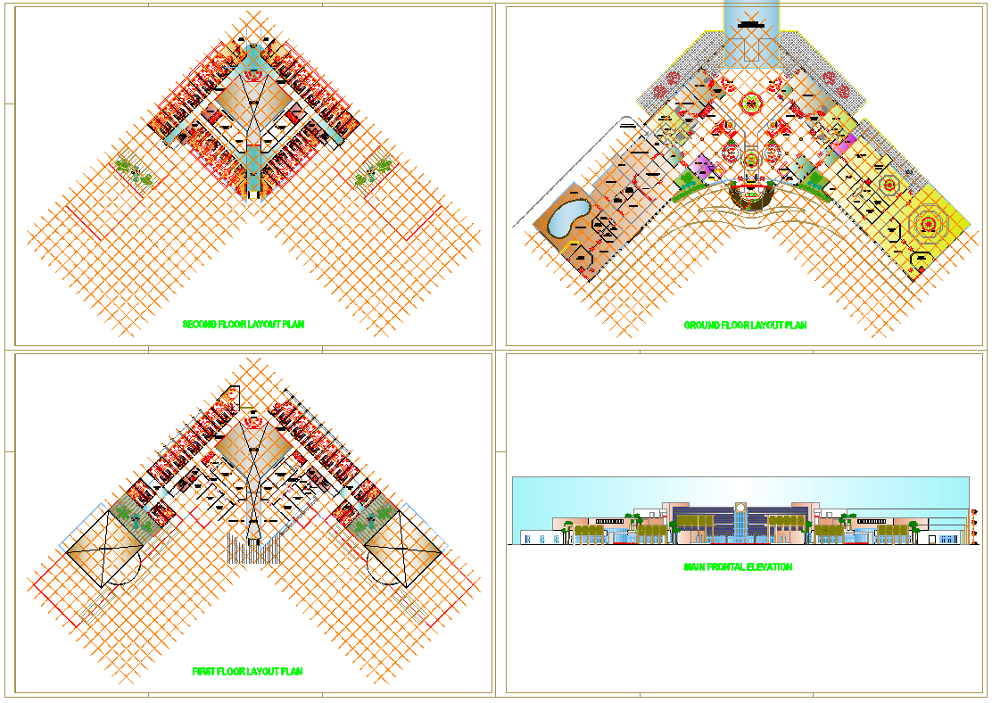 Hotel Layout plan and Elevation Design dwg file